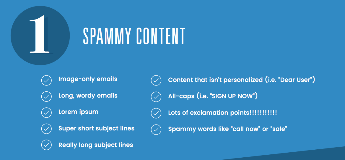 a photo with different examples of spammy content
