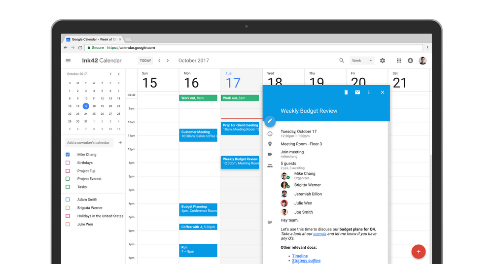 Google Calendar screenshot: Invite multiple guests.